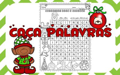 Datas comemorativas, natal, caça palavras, Símbolos do natal, Alfabetização e letramento, Atividades de alfabetização,
