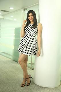 Adah Sharma Latest Pictures in Polka Dot Sleeveless Dress at Kshanam Movie Interview ~ Celebs Next