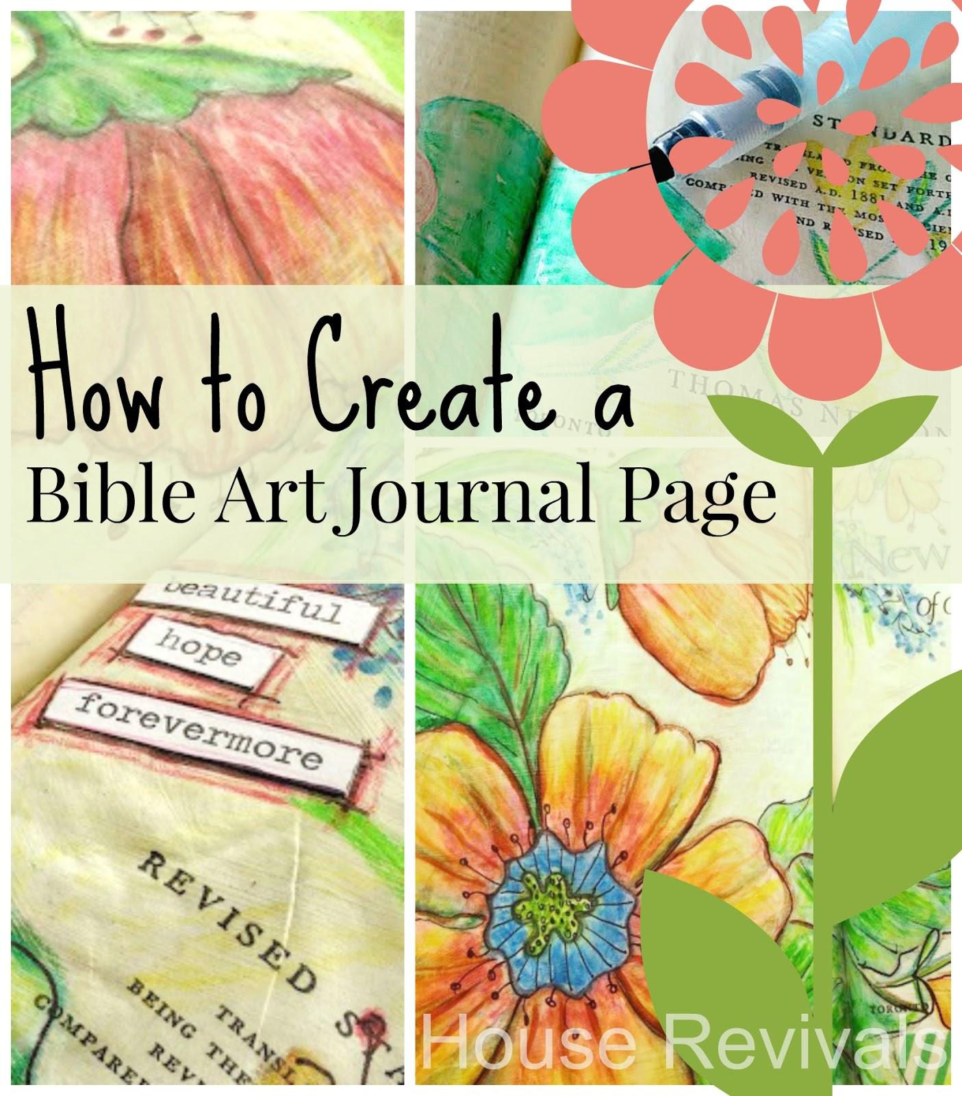 house revivals watercolor pencil bible art journal tutorial