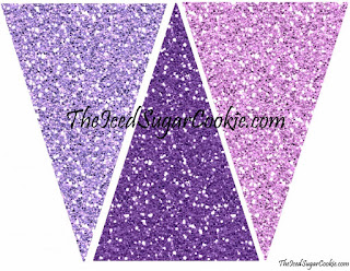 Purple Glitter Flag Garland Hanging Bunting Banner Printable Mermaid Birthday Party Purple Mermaid Party