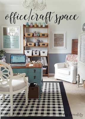 A home office and craft space that is loaded with farmhouse charm, and lots of creative organizing. See it all at diy beautify!
