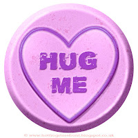 Hug Me text on Love Heart sweet free image for texting