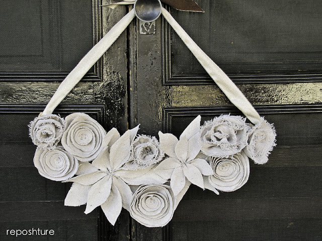 Winter Swag Style Wreath made from a drop cloth by Reposhture at Remodelaholic.com