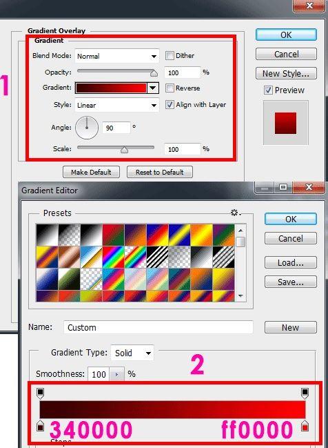 Peggunaan Gradient Overlay di Photoshop untuk warna teks horror
