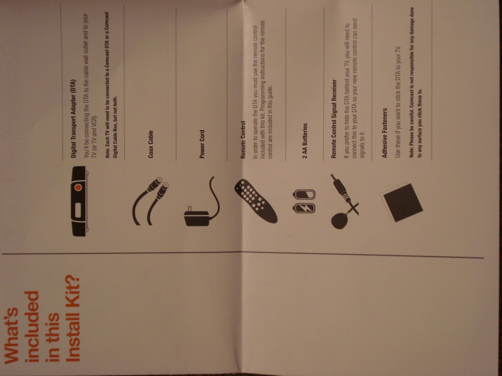Comcast dta Box Manual