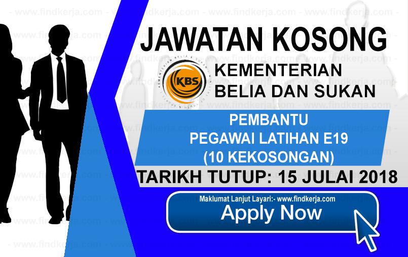 Jawatan Kerja Kosong Kementerian Belia dan Sukan - KBS logo www.findkerja.com www.ohjob.info julai 2018