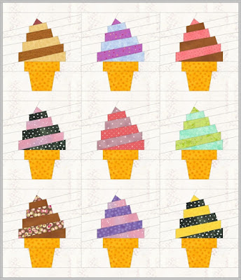 ice cream swirl quilt block pattern sample