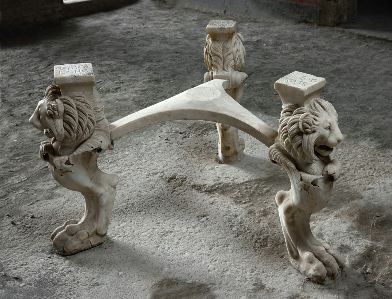 One Of The Thousands Of Fascinating Objects Found In Pompeii Was This Stone  Table Base.