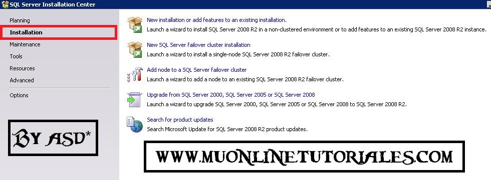 Opcion de instalacion del SQL 2008