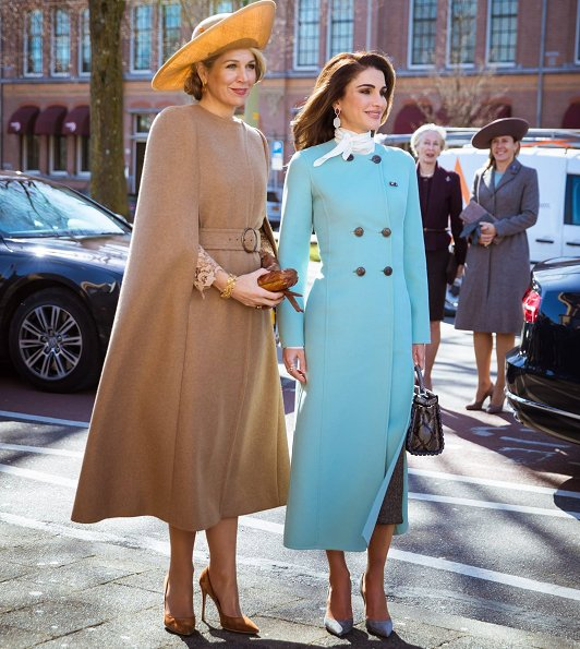 Queen Maxima wore Claes Iversen Serval Elegant Lace Midi Dress Tobacco Brown and Claes Iversen cape coat, Queen Raina wore Claes Iversen coat and Chloe blouse
