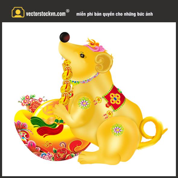Vector Con chuột Ôm thỏi vàng 2020