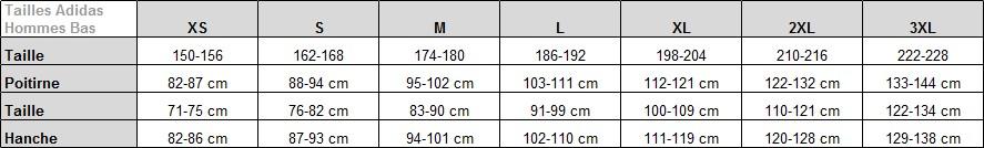 99c60e6b81 Si votre tour de taille est de 85cm il faudra donc choisir une taille M  chez adidas pour votre pantalon ou bas de jogging.