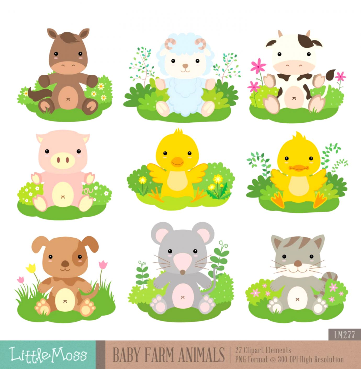 hight resolution of baby farm animals digital clipart