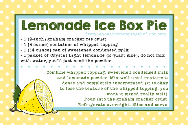 Lemonade Ice Box Pie Recipe Card