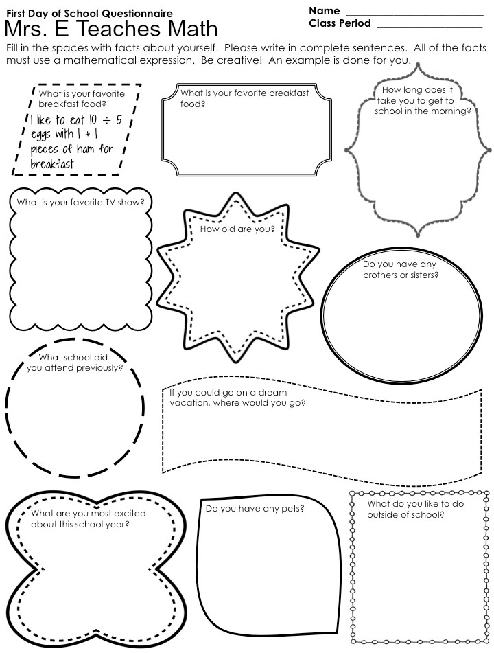 Mrs. E Teaches Math:  First Day of School Questionnaire - free download