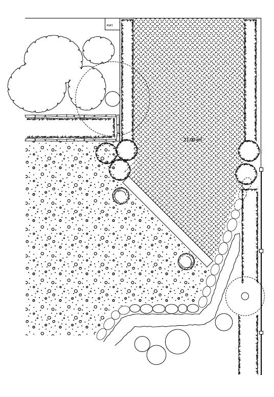 5c5c2e6be71 Uppförsbacken mot huset/tomten kläs med gammaldags gatsten, kantas med  buxbomshäckar (de små häckarna i ritningen). Gatstenen övergår till ...