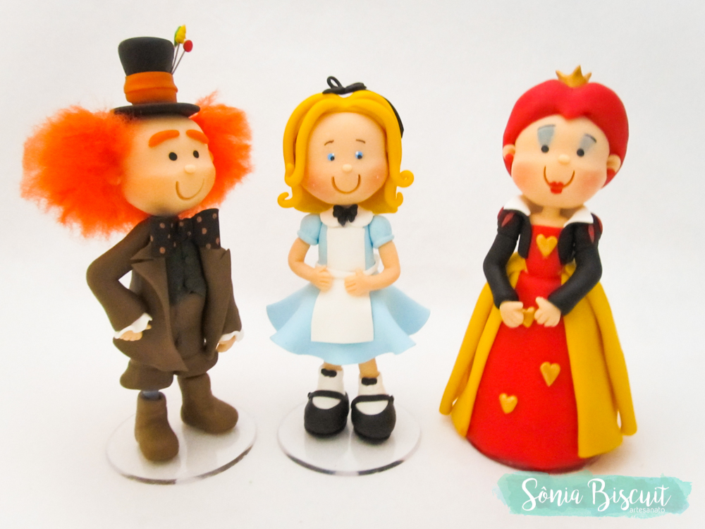 Alice no Pais das Maravilhas, Alice, Chapeleiro, Rainha de Copas, Vela, Biscuit, Sonia Biscuit