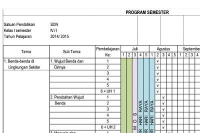 Promes Kelas 1/2/3/4/5/6 Kurikulum 2013 Excel