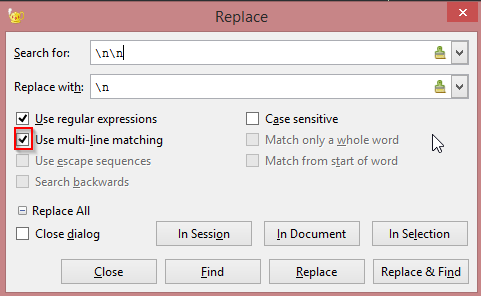 Technical Genie: Remove empty lines using regular expression in Geany