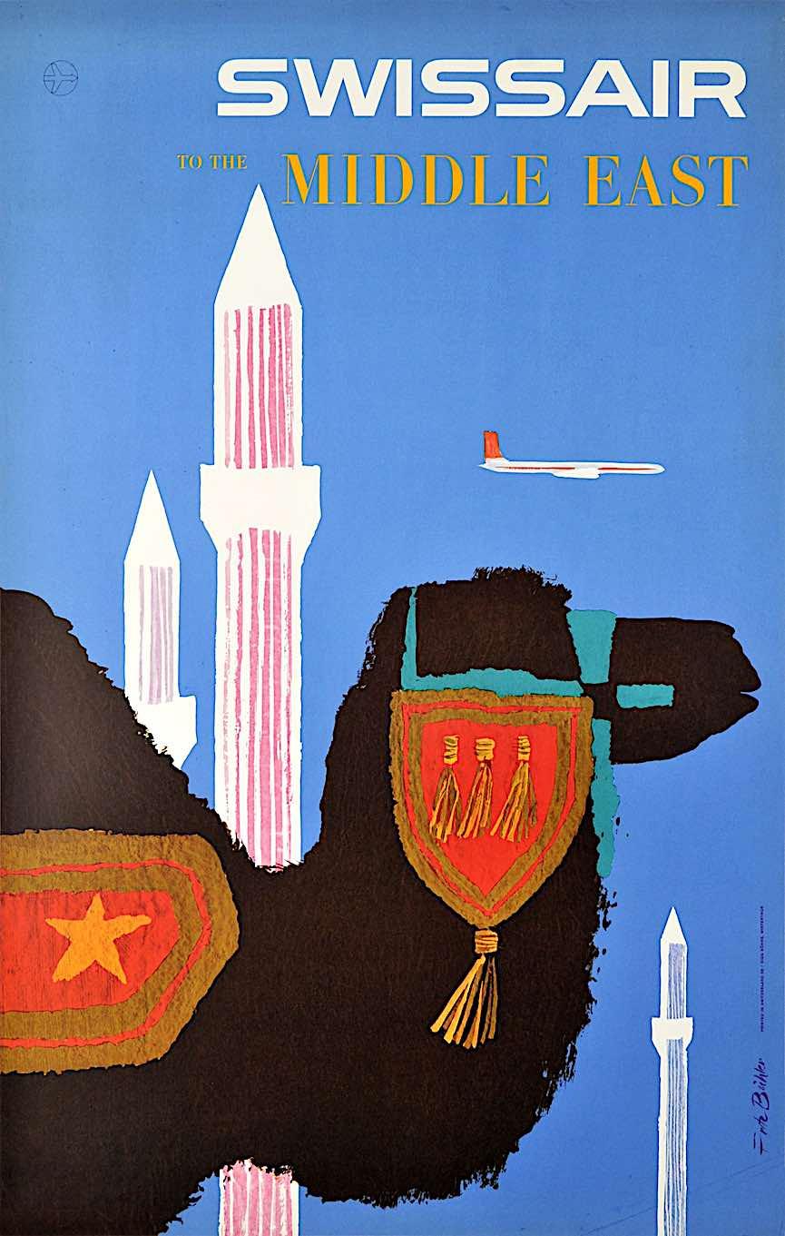 a Fritz Buhler 1958 Swissair poster illustration in silhouette