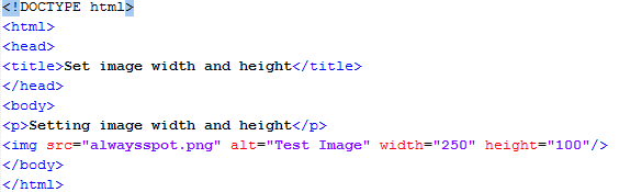 HTML Set Image Width/Height