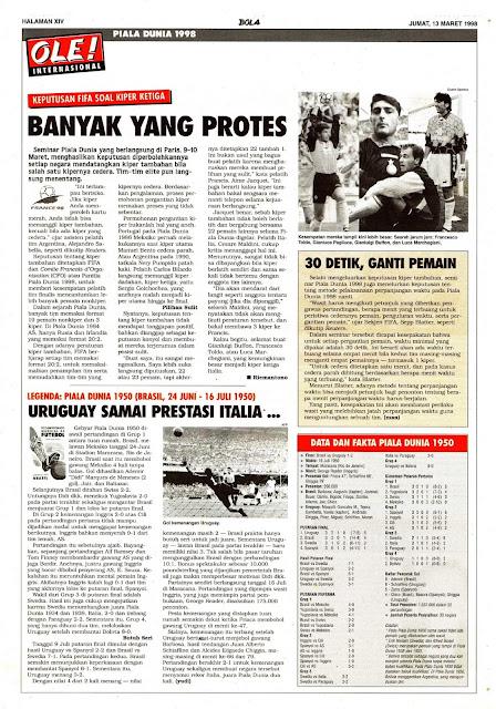 PIALA DUNIA 1998: KEPUTUSAN FIFA SOAL KIPER KETIGA