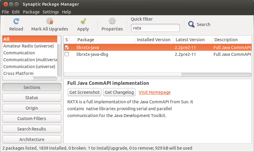 Java-Buddy: Install RXTX on Ubuntu