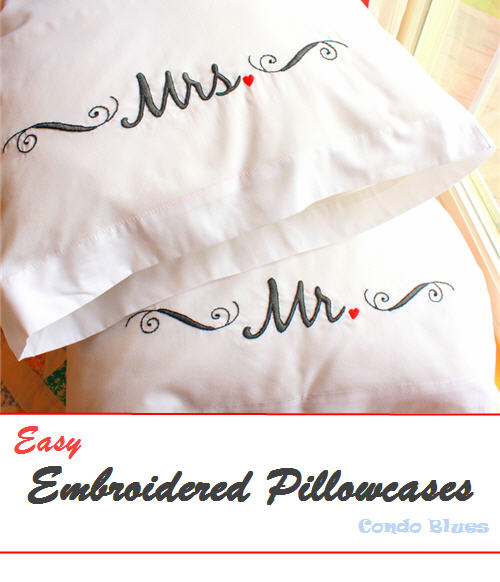 easy handmade wedding gift idea Mr and Mrs pillowcases
