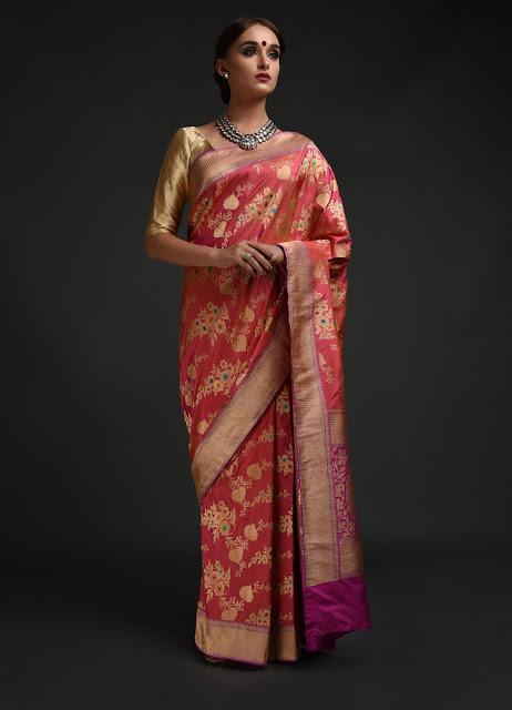 Pink Shot Banarasi Meenakari Zari Handwoven Pure Silk Saree INR 119000