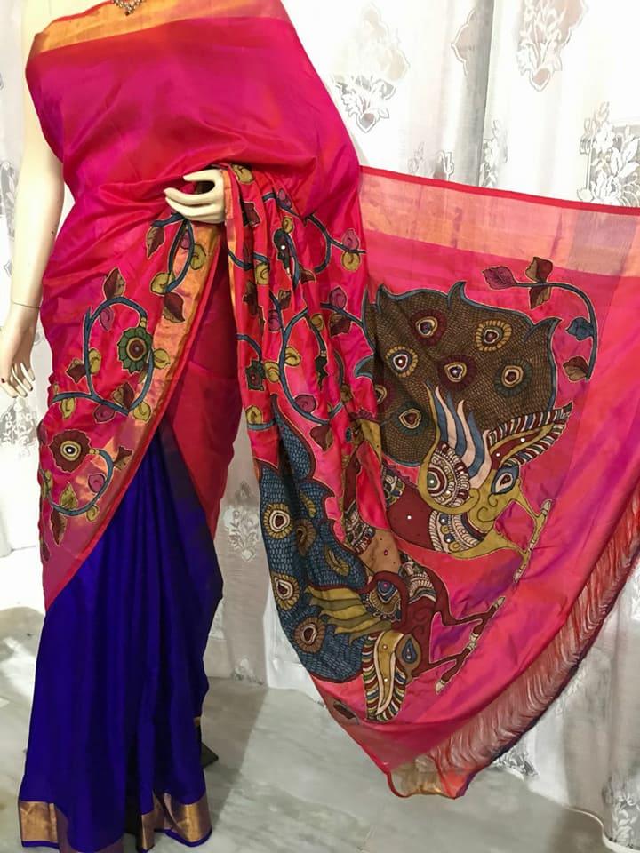 26da81b1d294fd pure handloom uppada pattu sarees with handpainted kalamkari applique work  and blouse- rs 5500 moq single pc mail at indigomartcollections@gmail.com