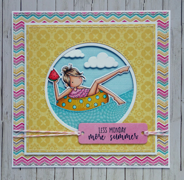 Colourful Summer card featuring Frances loves to float rubber stamp by Stamping Bella