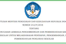 Keputusan Mendikbud Nomor 212/P/2018 Tentang Penugasan LP2KS Untuk Melaksanakan Pemberdayaan Pengawas Sekolah