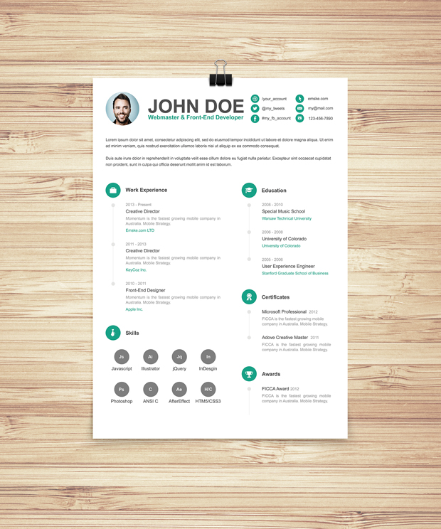 Green simple resume cv template free download graphic knot green simple resume cv template free download yelopaper Gallery