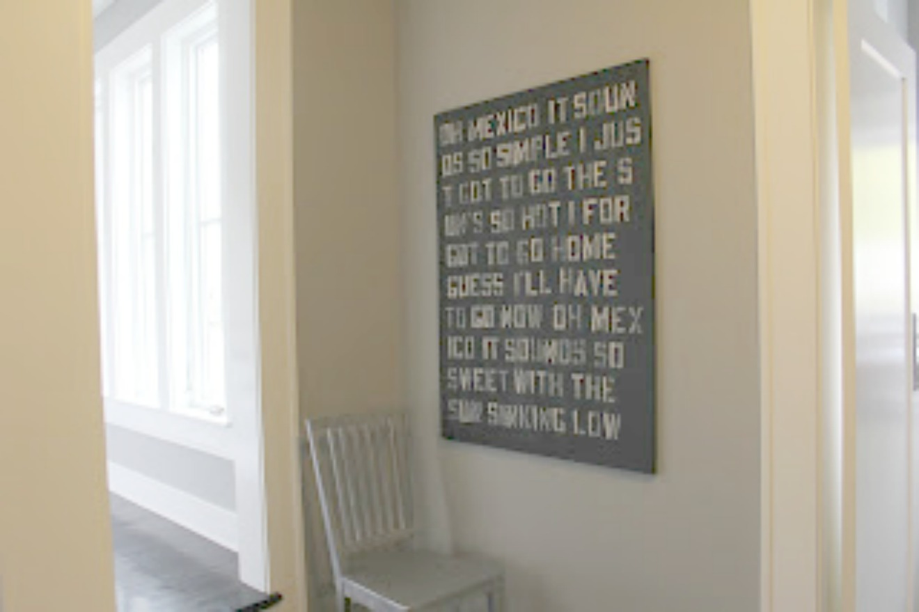 Black and white quote panel on canvas by Michele of Hello Lovely Studio