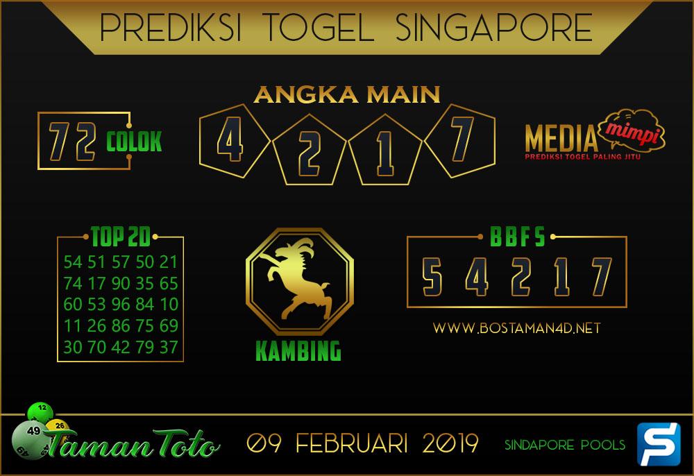 Prediksi Togel SINGAPORE TAMAN TOTO 09 FEBRUARI 2019