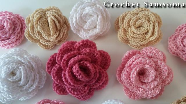 كروشيه وردة ملفوفة . Crochet Flower . كروشيه سمسومة . ورود كروشيه . كروشيه وردة . crochet samsoma كروشيه وردة مجسمة . 3D Crochet Flower . How to crochet a flower .