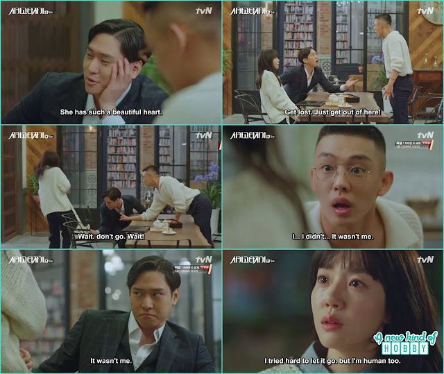 Jin O while stopping her ripped Seo Jeon bag and she thought it was done by se joo - Chicago Typewriter: Episode 6