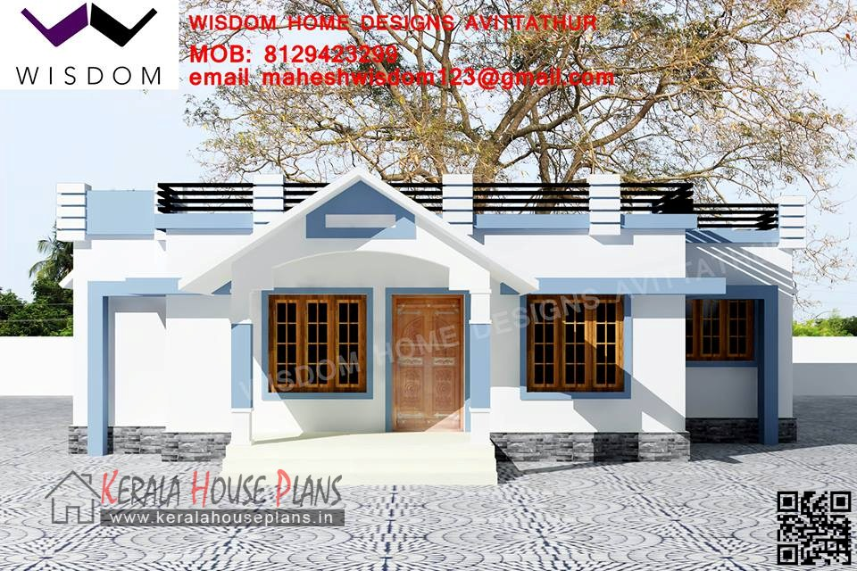 1008sqft small budget kerala house design and elevation for Low budget home plans