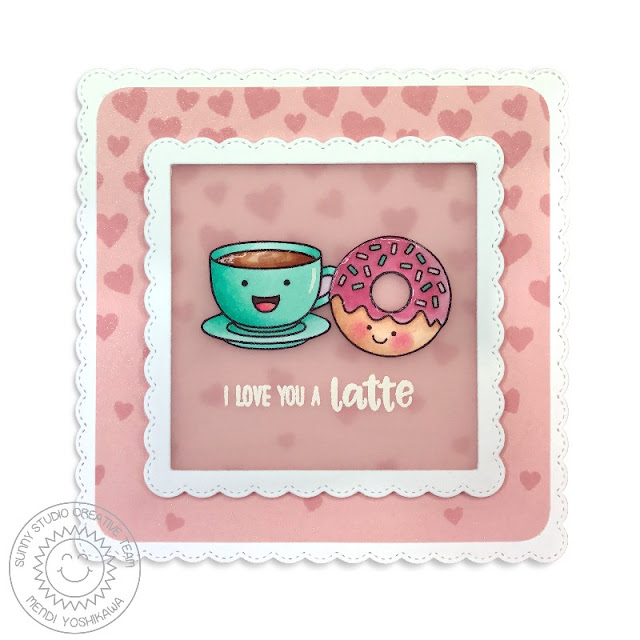Sunny Studio Stamps: Breakfast Puns & Cascading Hearts I Love You A Latte Card by Mendi Yoshikawa