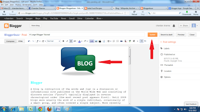 how to insert/write content in blogger blog