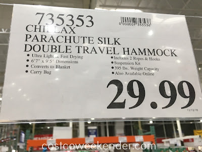 Deal for the Chillax Parachute Silk Double Travel Hammock CCLH20-35 at Costco