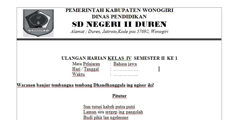 Soal Dan Kunci Jawaban Ulangan Harian Bahasa Jawa Semester 2 Kelas 4 Wolupedia Net