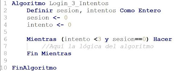 Algoritmo Ingreso al Sistema en PSeInt que solo permite 3 Intentos