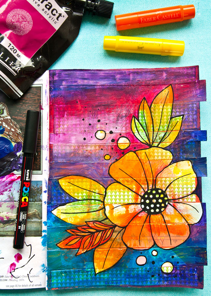 Mixed Media Flower drawing art journal page video by Kim Dellow