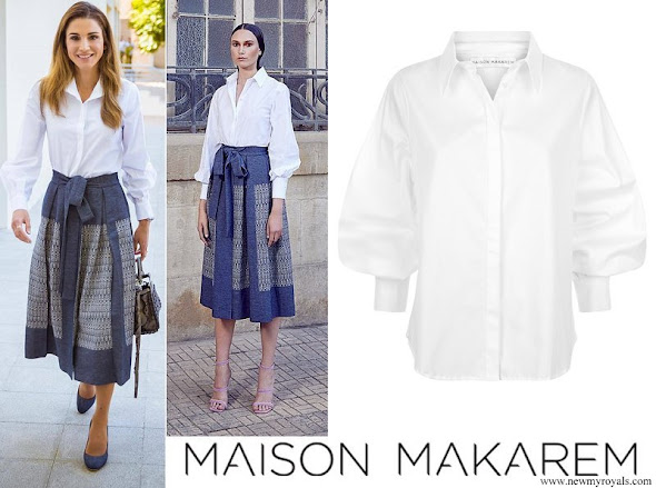 Queen Rania wore Maison Makarem Fearful Symmetry Skirt and Balloon Long Sleeve Shirt