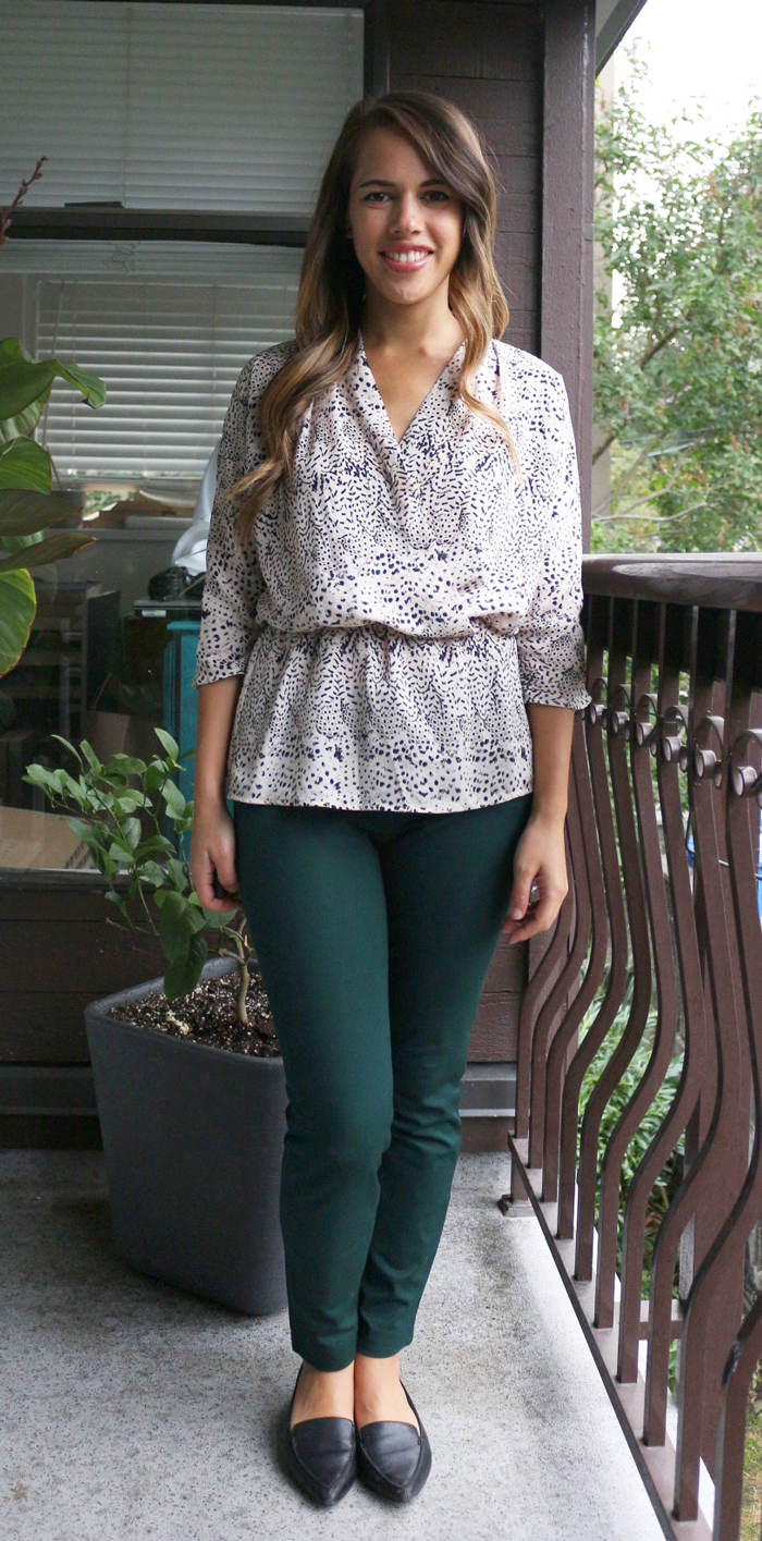 Jules in Flats Sept 7 Outfit - Old Navy Pixie Pant, Dynamite Wrap Blouse, Aldo flats