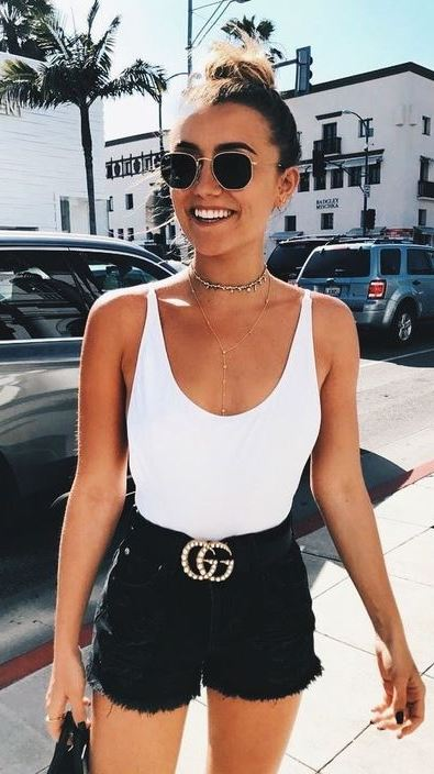 black and white outfit / top + shorts + bag + belt