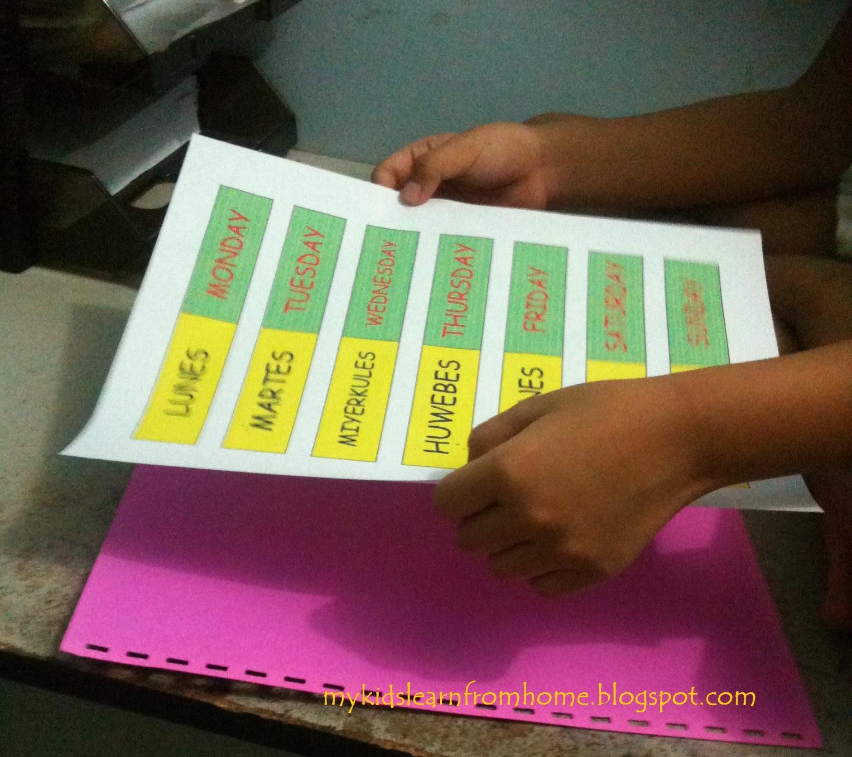 My Kids Learn From Home K2 Filipino Ang Mga Araw Ng