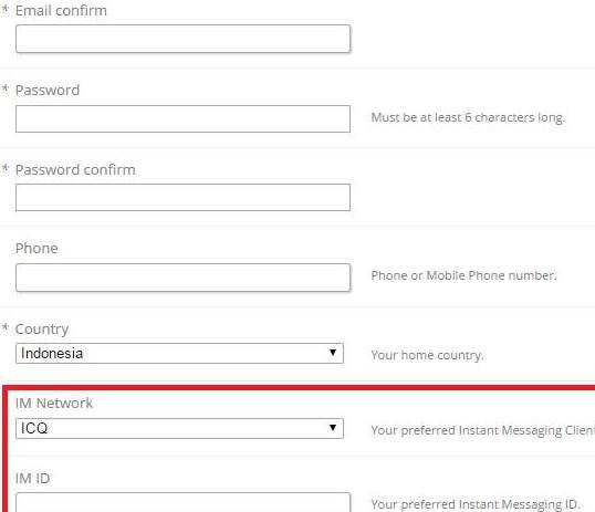 Formulir pendaftaran Popcash