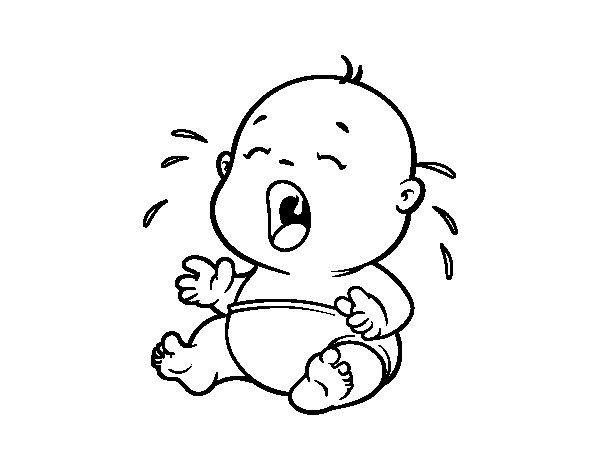 Gratis Imágenes Prediseñadas para colorear llanto bebé